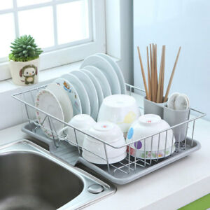 New Large Dish Rack Utensils Holder Side Drainer Drying Tray Stainless Steel $24.02