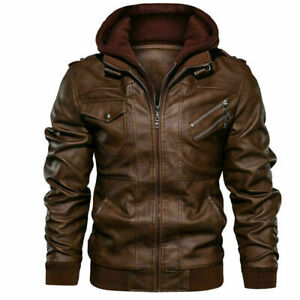 Men#x27;s Genuine Real Leather Jacket Brown Bomber Winter Hooded Jacket Coat