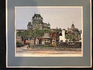 2 VTG Marc Signed Hand Colored Etchings Peace Royale amp; Porte St.Louise Quebec $35.00