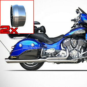 Chrome Billet Cat & Ghost Pipe w Chrome Fish Mouth End Caps For Indians w Bags