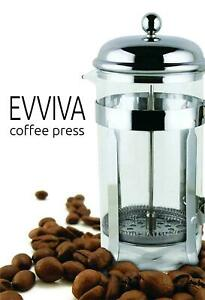 French Coffee Press With Stainless Steel Scoop 8 Cup Tea by Evviva Brand New $16.95
