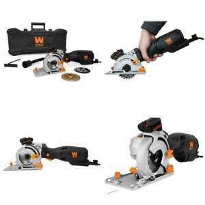 5 Amp 3-1/2 in. Plunge Cut Compact Circular Saw with Laser, Carrying Case and 3-