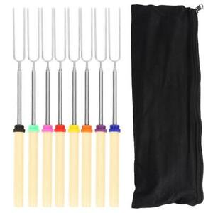 8 Colors BBQ Fork Telescoping Barbecue Marshmallow Roasting Sticks Kit #Z