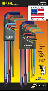 Bondhus ColorGuard Ball End Hex L Wrench Set Metric SAE Standard Inch USA 69600
