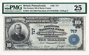 $10 1902 PB National BUCKS COUNTY BRISTOL Pennsylvania PA Mega Rare 4 on Census