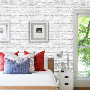 3D  Brick Stone Wall Paper Rustic Effect Self-adhesive Wall Sticker Home Deco
