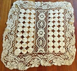 Antique stand cover Vintage Venise lace around yoyo 26 x 28 inches $65.00