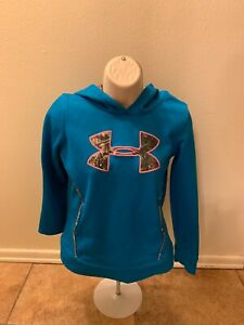 Under Armour Storm Turquoise Hoodie Camouflage Logo Loose Cut Girls Size Large $12.59