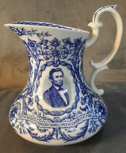 Antique Staffordshire Pottery Abe Lincoln Centennial Pitcher Cauldon England $849.95
