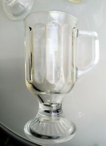 Set of 4 vintage 8 oz Ribbed Heavy Footed Clear Irish Coffee Glass Mugs / Cups