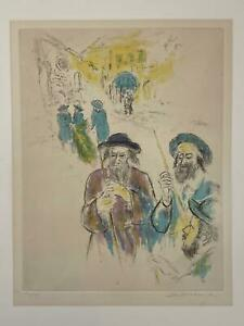 Vintage Pencil Signed IRA Moskawitz Hand Colored Etching Lulav Toral Jewish Art