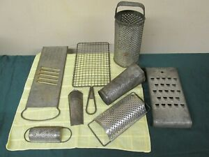 8 PC ANTIQUE PUNCHED TIN GRATERS LOT ROUND FLAT PRIMITIVE FARMHOUSE DECOR CHEESE