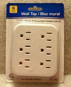 6 Outlet Grounded Electronic Indoor AC Power Wall Tap Adapter ETL Listed