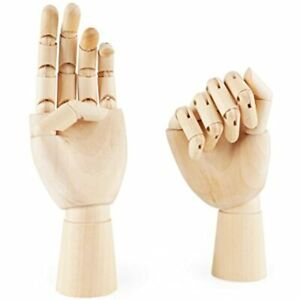 """7"""" Wooden Sectioned Opposable Articulated LeftRight Hand Figure Manikin For"""