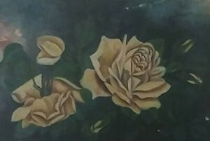 BEST Antique Victorian Yellow Rose Oil Painting 1908 Cottage Farmhouse Canvas