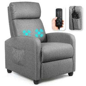 Massage Recliner Chair Single Sofa Fabric Padded Seat Theater Home w Footrest