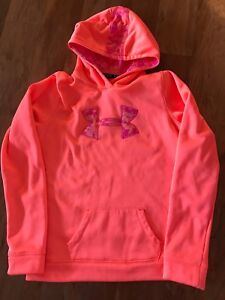 Youth Girl's Under Armour Pullover Fleece Hoodie XL Orange Pink Coral Camouflage $6.45