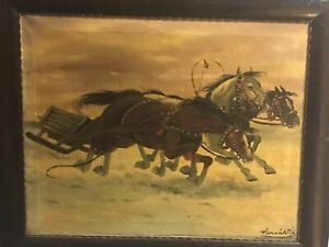 Antique Signed Original Painting Oil on Canvas Three Horses amp; Getaway Sled $174.50