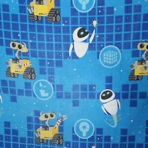 Disney Pixar Wall-e Eve Flat Sheet Only Cutter Fabric Blue Outer Space Character