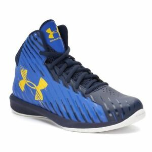 Under Armour UA BPS Jet Mid Boys Basketball Shoes Size 11 Blue Black Yellow #400 $11.99