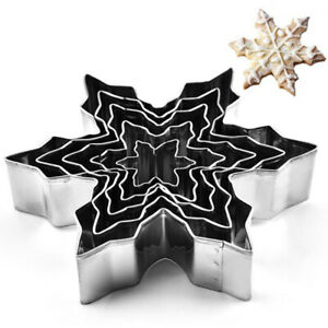 5PCS Snowflake Stainless Steel Cookie Cutter Biscuit Pastry Mold Cake Decor T RS