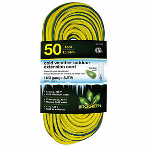 16 3 50#x27; Cold Weather Outdoor Extension Cord Yellow w Green Stripe. Lighted End