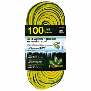 14 3 100#x27; Cold Weather Outdoor Extension Cord Yellow w Green Stripe. Lighted