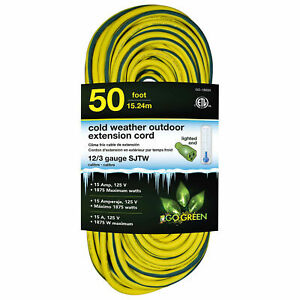12 3 50#x27; Cold Weather Outdoor Extension Cord Yellow w Green Stripe. Lighted End