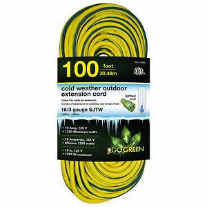 16 3 100#x27; Cold Weather Outdoor Extension Cord Yellow w Green Stripe. Lighted