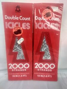 Vintage Tinsel Christmas 18quot; 2 boxes 2000 Strands Box NOS icicles