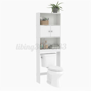 Bathroom Over Toilet Cabinet Space Saver Storage Shelf Rack Wood Organizer White