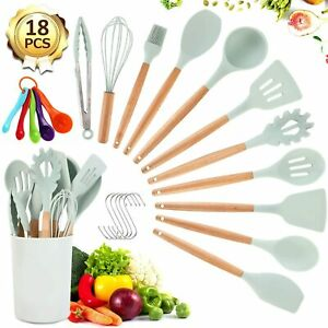 19 Kitchen Utensil Set Silicone Cooking Utensils Wooden Kitchen Utensils Set