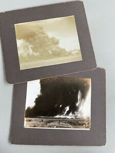 Lot of 2 Antique Photographs Fire Disaster Lightening Struck Metal Containers $22.99