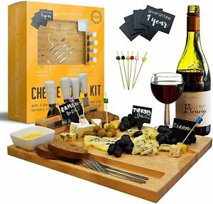 Cheese Board & Knife Set-Unique Cutting House Bamboo Home Gift Trays-Charcuterie