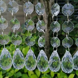 Waterdrops Acrylic Crystal Octagon Bead String Prisms Garland Chandelier Hanging