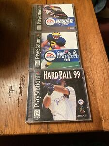 LOT Of 3 Playstation 1 Hard Ball NCAA Football Nascar 99