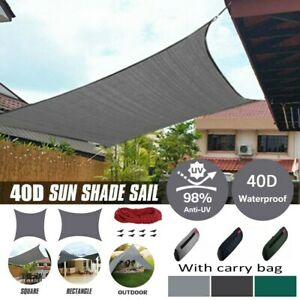 Waterproof Sun Shade Sail UV Patio Outdoor Top Canopy Rectangle/Square Cover