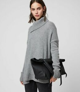 ALLSAINTS KEPI Small East West Leather TOTE Whipstitch Woven BLACK $368.00 NWT $238.00