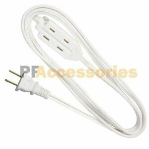 3 Outlet 2 Prong Indoor Light Wall Power Electrical Extension Cord Cable White