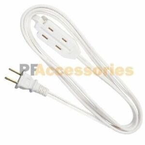 3 Outlet 2 Prong Indoor Light Wall Power Electrical Extension Cord Cable White $6.85