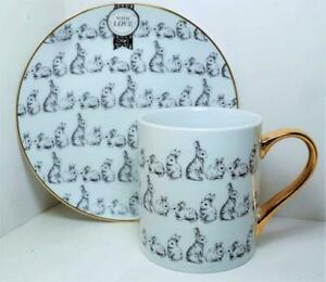 NEW Ciroa With Love BUNNIES Porcelain MUG & PLATE Snack Set REAL GOLD