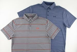 Under Armour Mens XL Loose Heatgear Striped Casual Golf Polo Blue Gray Lot of 2 $59.97