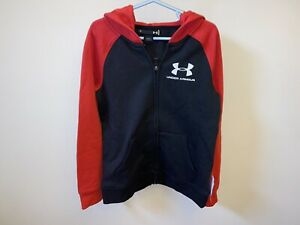 New Under Armour Boys Full Zip Hoodie Jacket Size 7 Red Gray Reg. $40 $16.50