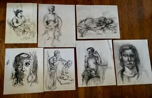 Gay Youse Seven Original Drawings 1940s Sweet Scenes Duxbury MA Bumpus Gallery $75.00