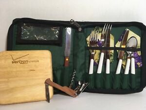 New Cheese Board Picnic Tote with Cutting Board & Utensils Green Color