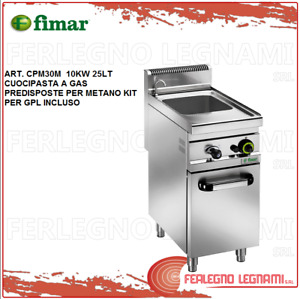 Pasta Cooker Gas Methane + Kit for Gpl. with Furniture 10KW 25LT Fimar CPM30M