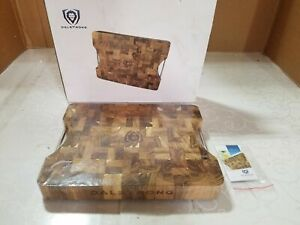DALSTRONG Lionswood End-Grain Teak Cutting & Serving Board - w/Steel Carrying Ha