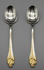 Oneida Stainless Flatware GOLDEN AMARYLLIS Serving Spoons Set of Two