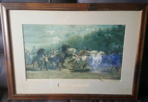 ANTIQUE PRINT LITHO ETCHING THE HORSE FAIR ROSA BONHEUR CHROMOLITHOGRAPH  $125.00