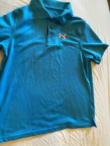 Under Armour Collar Boys Golf Shirt Youth Large Turquoise Blue $12.00